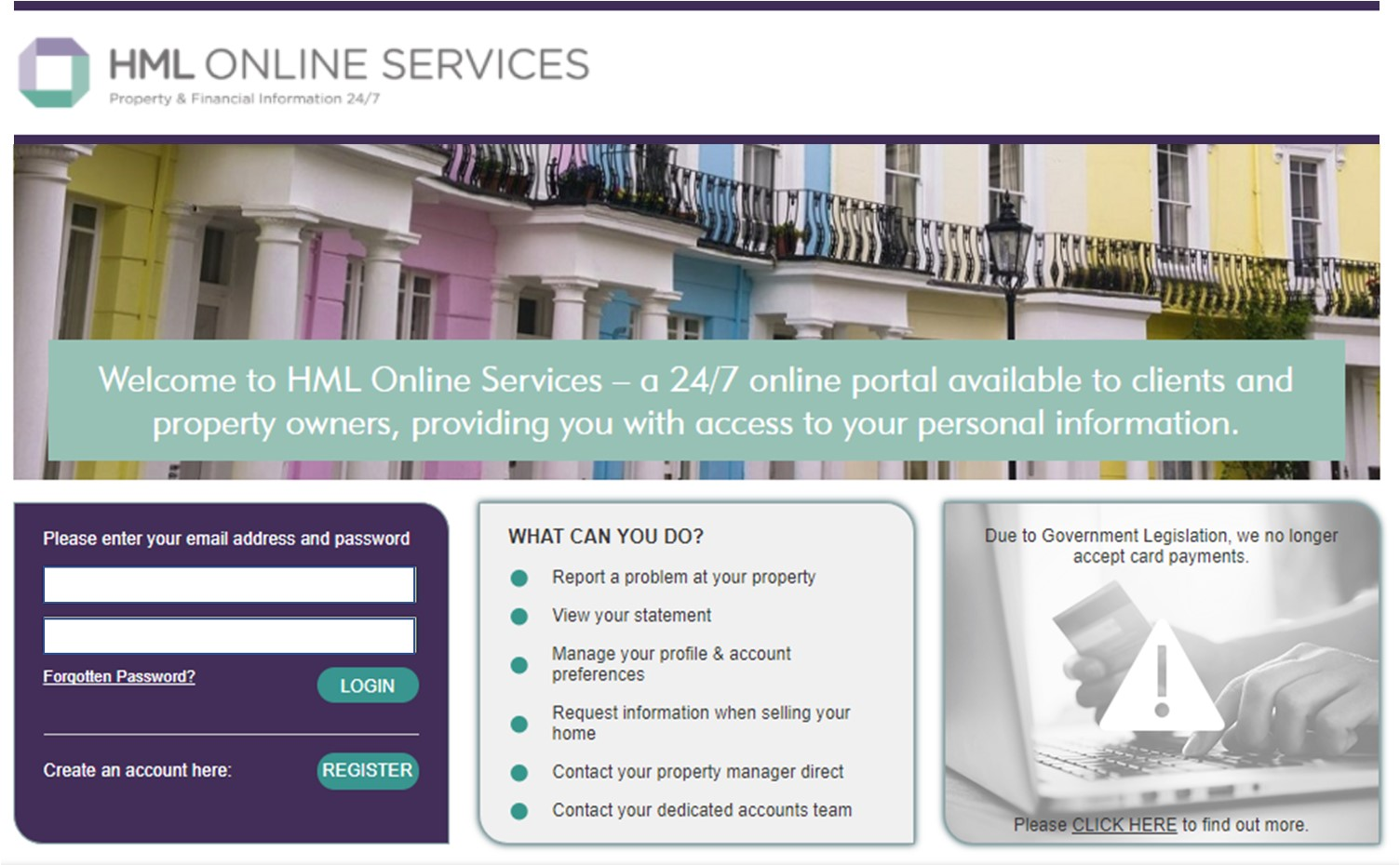 HML Online Services Homepage