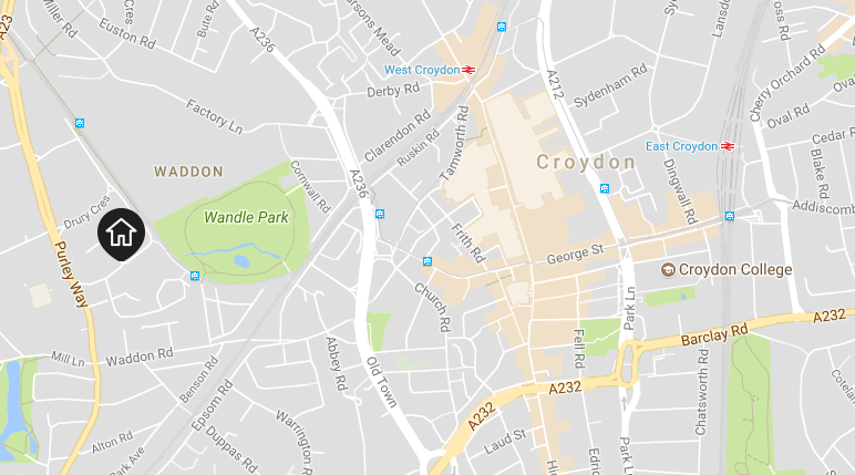 Location of the New South Quarter in Croydon, near Wandle Park